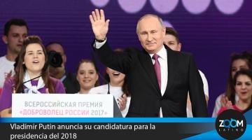 Vladímir Putin anuncia su candidatura para la presidencia del 2018