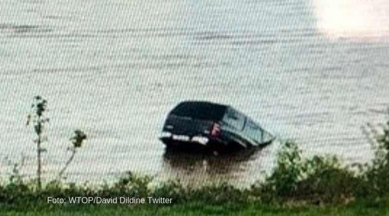 Persecución de ladrón termina con su auto en el Río Potomac.