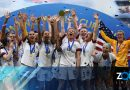 Fanáticos celebran el triunfo de EE.UU. en la Copa Mundial Femenina 2019.