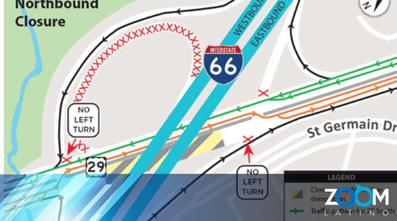Debido a la demolición de puentes la Ruta 29 y la I66, se reducirán a un solo carril