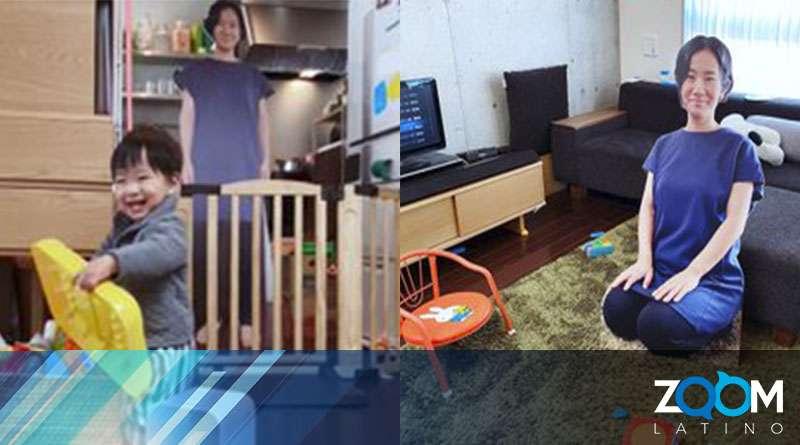 Una madre usa una fotografía de ella en tamaño real para que su hijo no llore cuando sale de la habitación